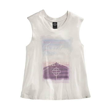 Harley-Davidson® Womens Freedom Is a Full Tank B&S Off White Sleeveless Muscle T-Shirt