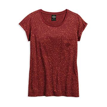 Harley-Davidson® Womens Embroidered B&S Splatter Pocket Red Short Sleeve T-Shirt