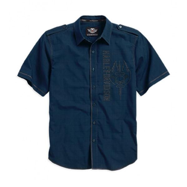 Mens Willie G Skull Wrinkle-Resistant Textured Blue Short Sleeve Woven Shirt