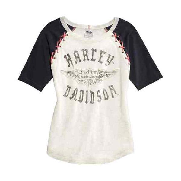 Womens Winged B&S Laced Raglan Tan Short Sleeve T-Shirt