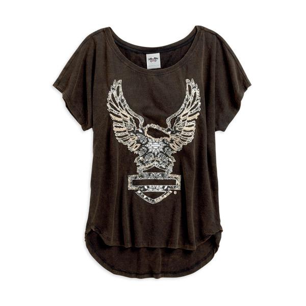 Womens Bandana Applique Eagle B&S Hi-Low Hem Black Short Sleeve T-Shirt